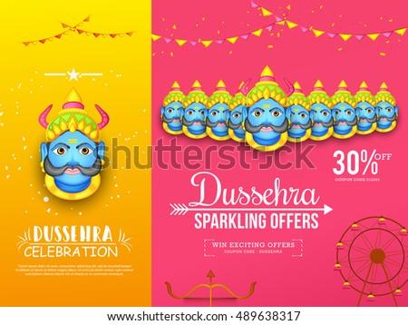 Creative illustration,sale banner or sale poster for Dussehra celebration with ten headed Ravana.