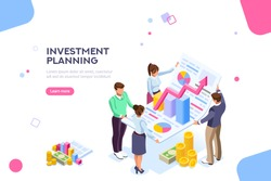 Creative income planning for sales. Teamwork, account company, increase corporate result. Growth concept with characters and text for services. Flat isometric infographic images vector illustration.