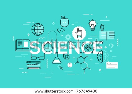 Creative infographic banner with elements in thin line style. Concept of science and education, scientific research and development. Modern vector illustration for advertisement, header, website.