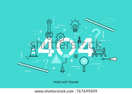 Creative infographic banner with elements in thin line style. Concept of website under construction, webpage maintenance, error 404, page not found message, technical problem. Vector illustration.