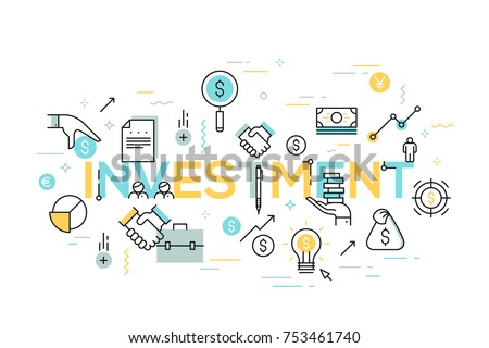 Creative infographic banner with elements in thin line style. Investment, deal making, money earning and saving, financial profit. Modern vector illustration for advertisement, header, website.