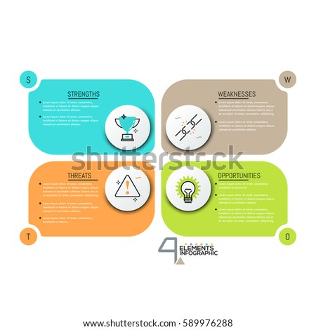 Creative infographic design template, 4 rectangle text boxes with pictograms. SWOT-analysis. Strengths, weaknesses, threats and opportunities of company. Vector illustration for presentation, report.