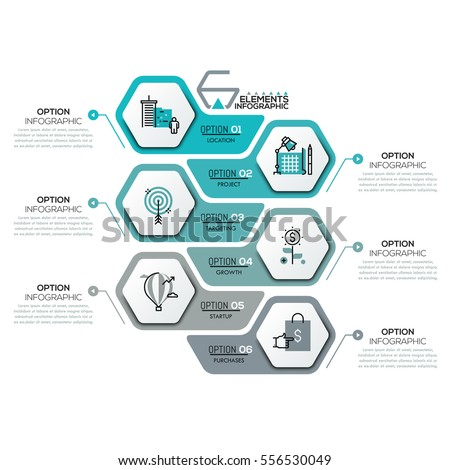 Creative infographic design template with 6 hexagonal elements, arrows and text boxes. Six steps of business project development concept. Vector illustration for brochure, report, corporate website.
