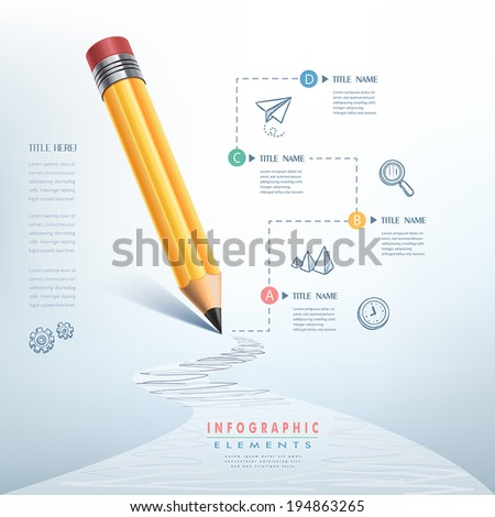 creative infographics template with pencil puzzle and education icons abstract infographic design minimal style graphic or website layout vector