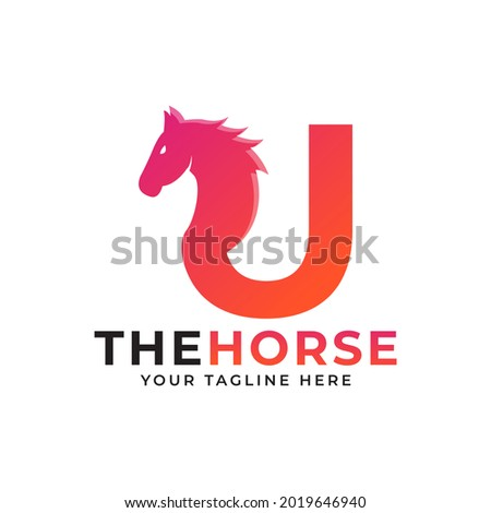 Creative Initial Letter U with Horse or Stallion Head Logo Vector Concept Foto stock ©