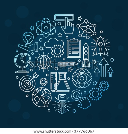 Creative innovation background - vector dark blue round symbol or inspiring sign made with thin line icons