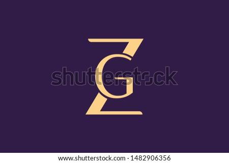 Creative Innovative Initial Letter logo ZG GZ Z G. Minimal luxury Monogram. Professional initial design. Premium Business typeface. Alphabet symbol and sign. Stok fotoğraf ©