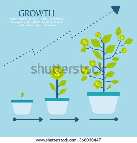 Creative Investment Infographic layout with money tree in three steps showing success of growth in Business.