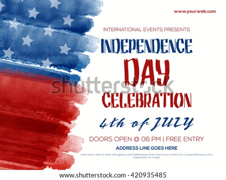Shutterstock Creative Invitation Flyer decorated with blue and red brush strokes for 4th of July, American Independence Day Party celebration.