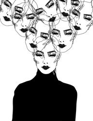 Creative isolated vector illustration, continuous scribble doodle line art of a beautiful woman, with her face, head multiplied floating around above her head. Poster, print, card, wall art décor...
