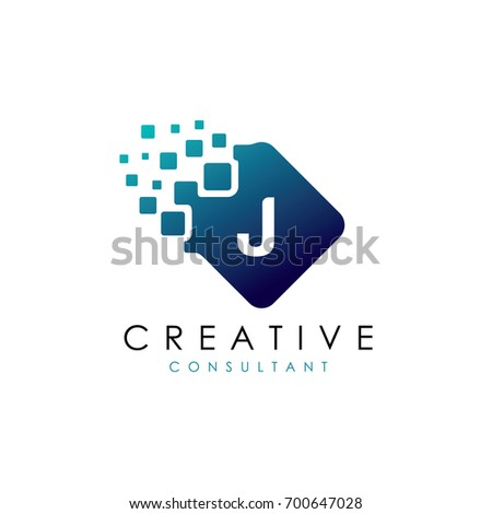 creative j data logo  j letter