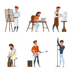 Creative jobs, careers flat illustrations set. Artist, writer, sculptor, musician, singer vector characters pack.