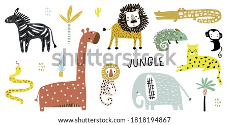 Creative Jungle and african animals in Children's style. Set of adorable elephant, giraffe, lion, zebra, crocodile,monkey, cheetah, snake. Vector illustration.