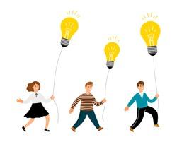 Creative kids. Happy cartoon children with lamp bulbs. Girl boy holding bulb balloon vector characters