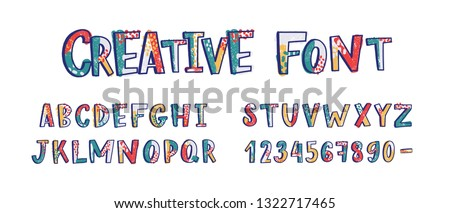 Creative latin font or english alphabet hand drawn on white background. Textured letters arranged in alphabetical order and figures or digits decorated with dots and smears. Vector illustration.