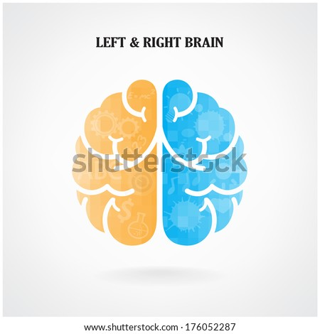 Creative left brain and right brain Idea concept background .vector illustration