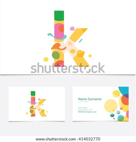 Creative Letter K design vector template on The  Business Card Template. Abstract Colorful Alphabet .Friendly funny ABC Typeface. Type Characters  Stock fotó ©