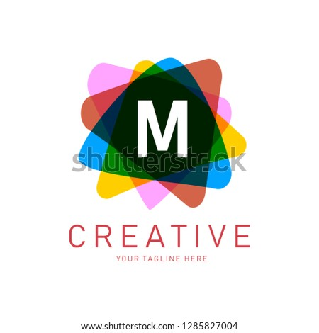 9768b1498d6 Creative Letter M Logo design vector template. Friendly funny ABC Typeface.  Colorful Alphabet collection