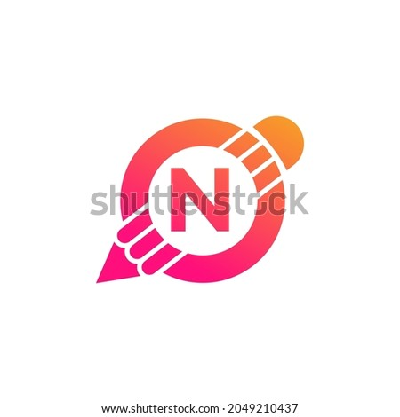 Creative Letter N Pencil with Circle for Education or Art Logo Inspiration Foto stock ©
