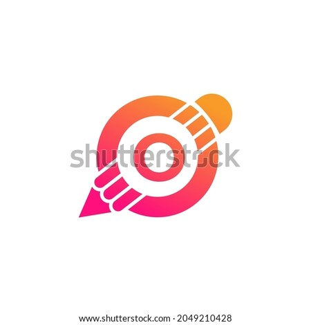 Creative Letter O Pencil with Circle for Education or Art Logo Inspiration Foto stock ©