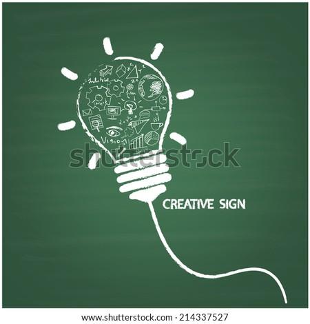 Creative light bulb handwriting style on blackboard with business idea concept, education concept. Vector illustration