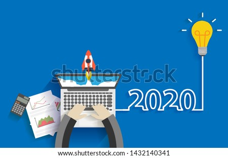 Creative light bulb idea 2020 new year business start up ideas concept design, With businessman working on laptop computer PC, Top view from above vector illustration