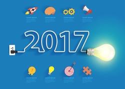 Creative light bulb idea with 2017 new year design, Inspiration business plan, marketing strategy, teamwork, brainstorm ideas concept, Vector illustration modern design layout template