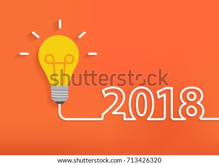 Creative light bulb idea with 2018 new year design, Inspiration business plan, marketing strategy, teamwork, brainstorm ideas concept, Vector illustration modern design layout template