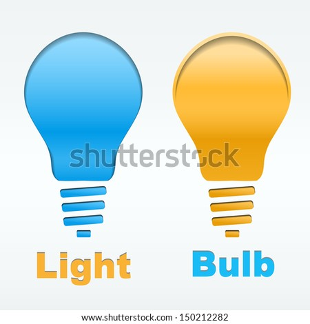 creative light bulb label vector design cutted from paper on white background. Vector illustration, eps 10, contains transparencies.