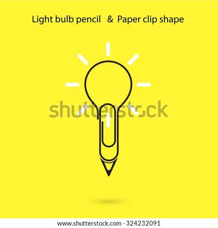 creative light bulb pencil logo