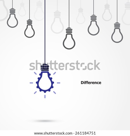 Creative light bulb symbol with gear sign and difference concept, business and industrial  idea. Vector illustration
