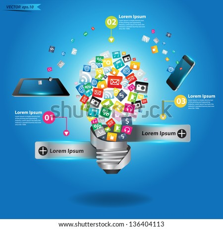 Creative light bulb with cloud of colorful application icon, Business software and social media networking service concept, Vector illustration modern template design