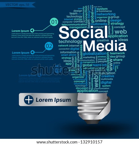 Creative light bulb with social media concept of word cloud, Vector illustration modern template design