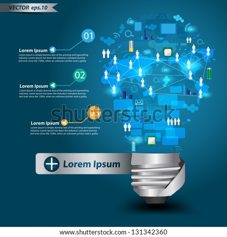 Creative light bulb with technology business Network process diagram concept idea, Vector illustration Modern template Design