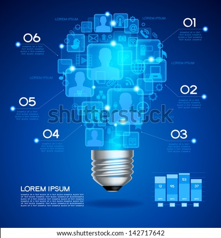Creative light bulb with technology business Network process, The file is saved in the version AI10 EPS. This image contains transparency.