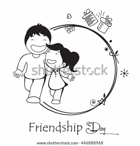 Creative Line Art based Design with Cute Friends or Kids, People with Gifts on decorative background.
