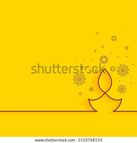 creative line diya on yellow background minimal diwali greeting Stock photo ©