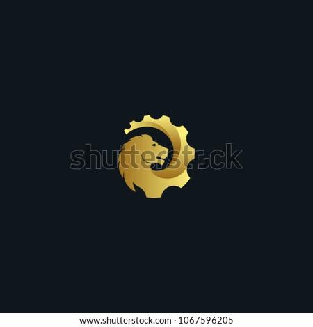 creative lion gear vector