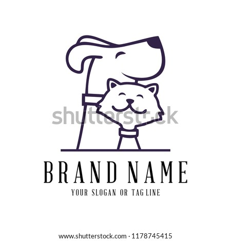 creative logo design Dog and Cat vector template stock photo