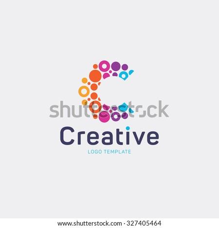 Creative logo design. Letter C logo. Abstract vector logo. Colorful logo. Dots logo
