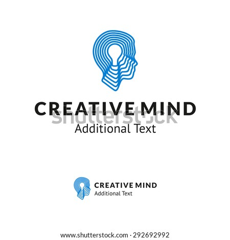 Creative Logo with Man Head and Lamp for Consulting Company, Creative Agency, for School or Academy