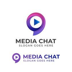 creative logos of media chat or social talk with play icon, nine media studio logo design