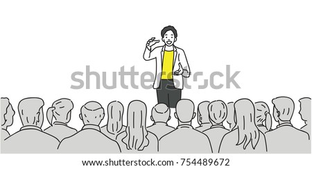 Creative man giving a talk on stage to audience in the conference hall. Outline, thin line art, linear, doodle, cartoon, hand drawn sketch design.
