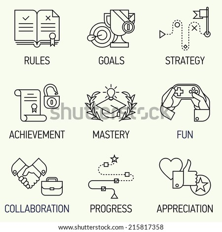 Creative marketing line art concept with gamification elements, marketing strategy, rules, goals, achievement and more   Vector illustration set of nine flat line modern style icons such as fun,