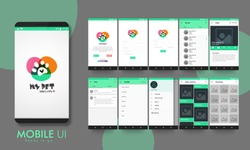 Creative Material Design UI, UX, GUI layout for e-commerce, responsive website and pet adoption mobile apps including Welcome, Sign-Up, Login, My Pets, Animal Category, Chat, Filter, Other Services.