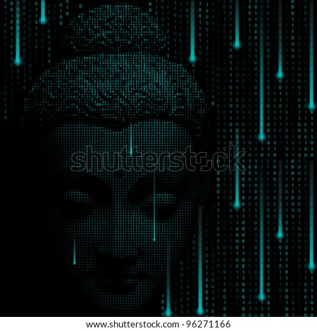 Creative matrix background with face Buddha.Vector eps10