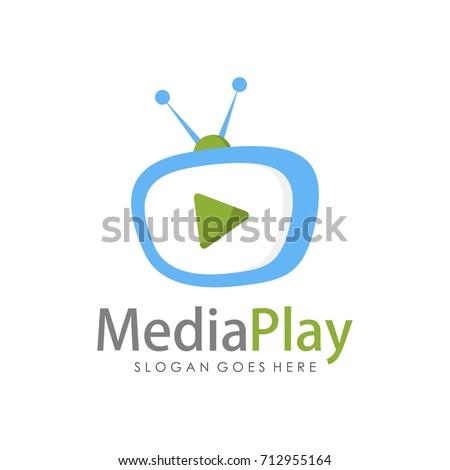 Creative media television logo design template