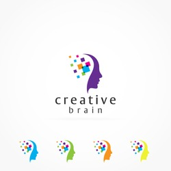 Creative mind and colorful Pixels logo