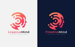 Creative Mind Logo Design. Abstract Tech Circle Combined with Face Silhouette. Usable For Business Brand, Tech and Company. Vector Logo Illustration.