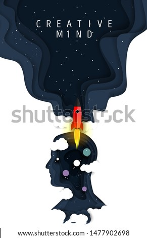 Creative mind poster template, vector illustration in paper art style. Human head silhouette with night starry sky, rocket and planets.